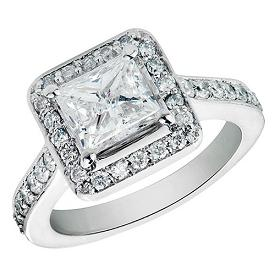 1.75 CT Princess Cut Diamond Halo Vintage Engagement Ring in 14K White Gold