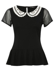 Black peplum peter pan collar short sleeve workwear top