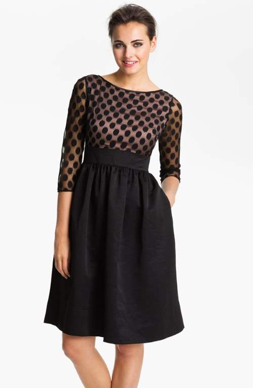Eliza J Dot Mesh Bodice Fit & Flare Dress