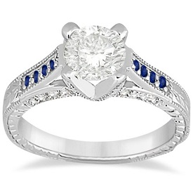 Pave Antique Sapphire and Diamond Engagement Ring Platinum