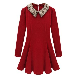 Small Spring Temperament Sequins Peter Pan Collar Waisted Tops Tiny Dress