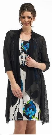 Womens 3 Piece Set - Ivory Shift Dress with Contrasting Black and Blue Floral Print, A Black Mesh Over-Blouse and Matching Necklace